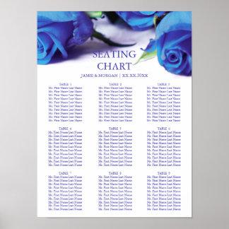 Romantic Blue Roses Wedding Seating Chart