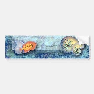 Romantic Blue Seashell Beach Wedding Favor Bumper Stickers