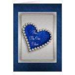 Romantic blue silver diamond heart greeting card