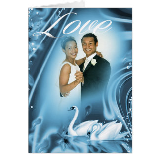 Romantic Blue Swan Love Wedding Photo Thank You Card