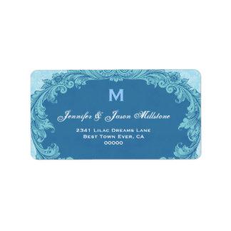 Romantic Blue Vintage Monogram Label