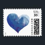 "romantic blue watercolor love heart, nice wedding postage<br><div class=""desc"">Romantic blue watercolored love heart,  for your wedding envelopes</div>"