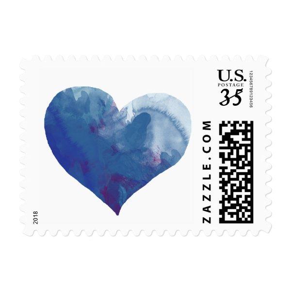 romantic blue watercolor love heart, nice wedding postage