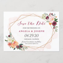 Romantic Blush Pink Floral Wedding Save the Date