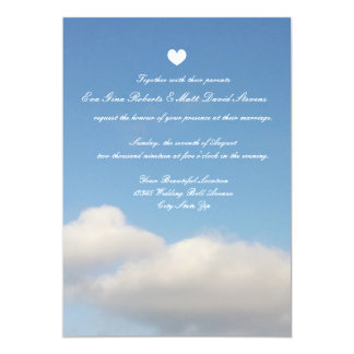 Romantic blye sky white clouds wedding invitations