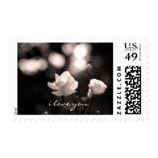 Romantic bokeh flower I love you Postage