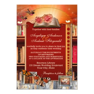 Romantic Book or Library Wedding Invitation