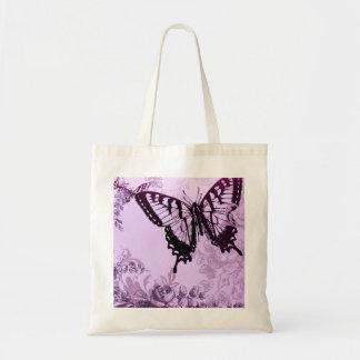 romantic botanical art bohemian butterfly tote bag