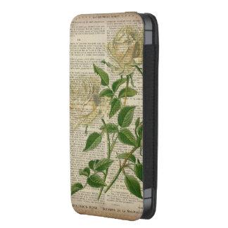 romantic botanical flower art girly white rose iPhone 5 pouch