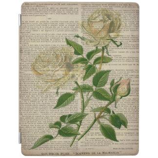 romantic botanical flower art girly white rose iPad cover