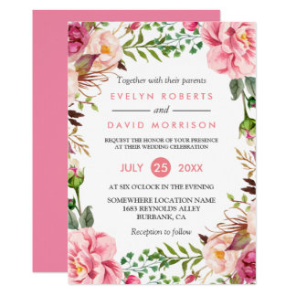 Romantic Botanical Pink Floral Wedding Celebration Card