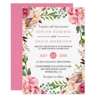 Romantic Botanical Pink Floral Wedding Celebration Card