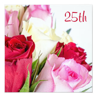 Romantic Bouquet Of Roses 25th Birthday Card