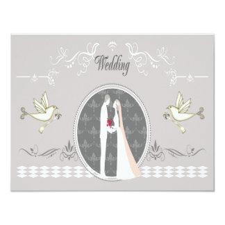 Romantic Bride & Groom & Doves Wedding Card