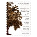 Romantic Brown Oak Tree Wedding Custom Invites