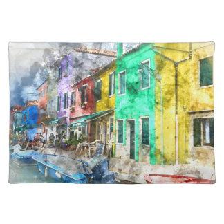 Romantic Burano Italy near Venice Italy Cloth Placemat