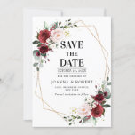 "Romantic Burgundy Blush Pink Botanical Geometric Save The Date<br><div class=""desc"">Beautiful floral boho wedding save the date features hand-painted watercolor floral graphics / roses in rich tones of Burgundy Marsala and blush pink / peach and charming hand lettering style font. Please contact me for any help in customization or if you need any other product with this design.</div>"