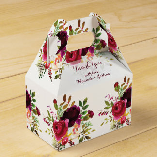 Romantic Burgundy Dark Reds Floral Bouquet Wedding Favor Box