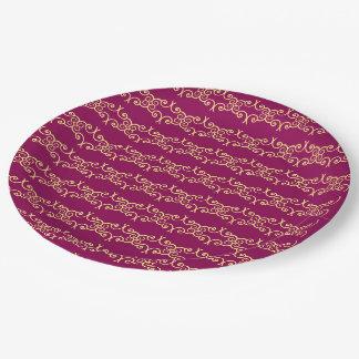 Romantic burgundy Design Pattern Paper Plate