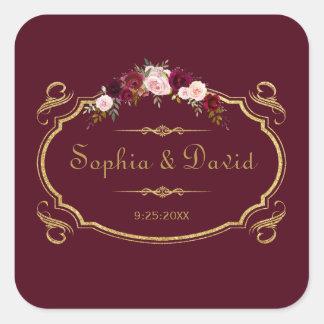 Romantic Burgundy Marsala Floral Fall Wedding Square Sticker