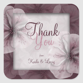 Romantic Burgundy Pink Floral Thank You Square Sticker