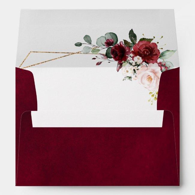 Romantic Burgundy Red Blush Rose Floral Geometric Envelope