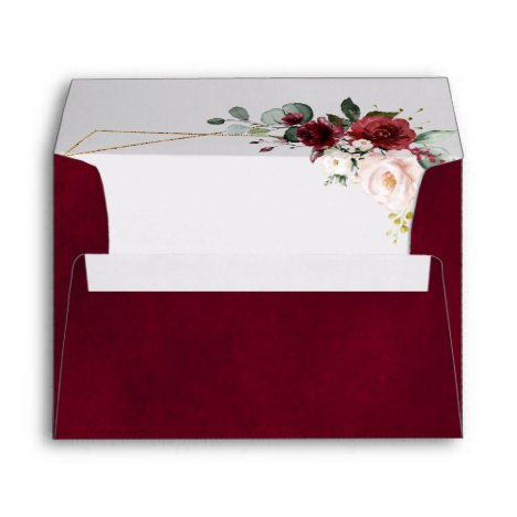 Romantic Burgundy Red Blush Rose Floral Geometric Envelope
