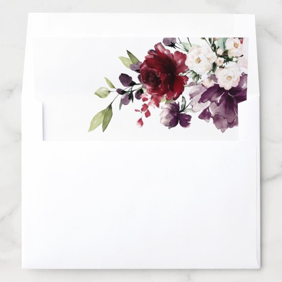 Romantic Burgundy Red Navy Blue Floral Wedding Envelope Liner