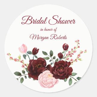 Romantic burgundy red pink rose Bridal Shower Classic Round Sticker