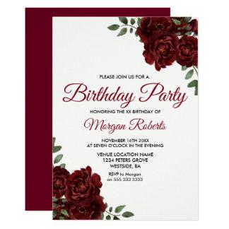 Romantic Burgundy Red Rose Birthday Party Invite