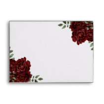 Romantic Burgundy Red Rose Invitations Envelope
