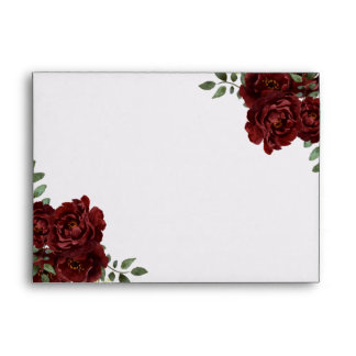 Romantic Burgundy Red Rose Invitations Envelope