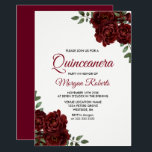 "Romantic Burgundy Red Rose Quinceanera Invite<br><div class=""desc"">Romantic Burgundy Red Rose Quinceanera Invite  See matching collection in store</div>"