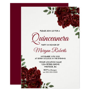 1a58a98a81 15% Off with code HAPPYWEEKDAY. Romantic Burgundy Red Rose Quinceanera  Invite