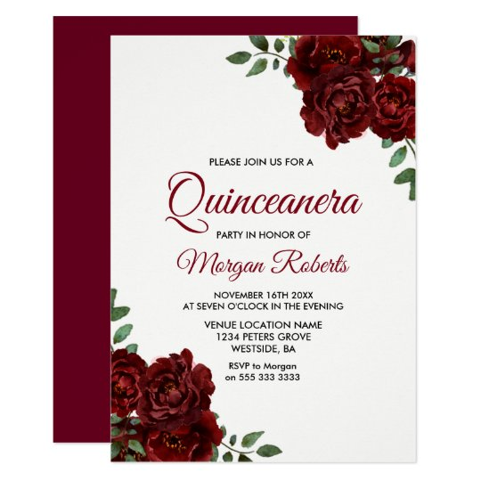 Romantic Burgundy Red Rose Quinceanera Invite Zazzlecom
