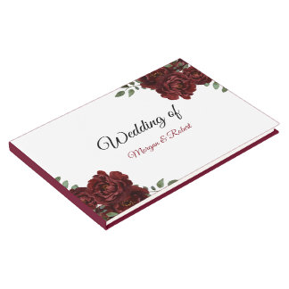 Romantic Burgundy Red Rose Wedding Guestbook