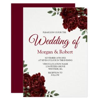 Romantic Burgundy Red Rose Wedding Invitation