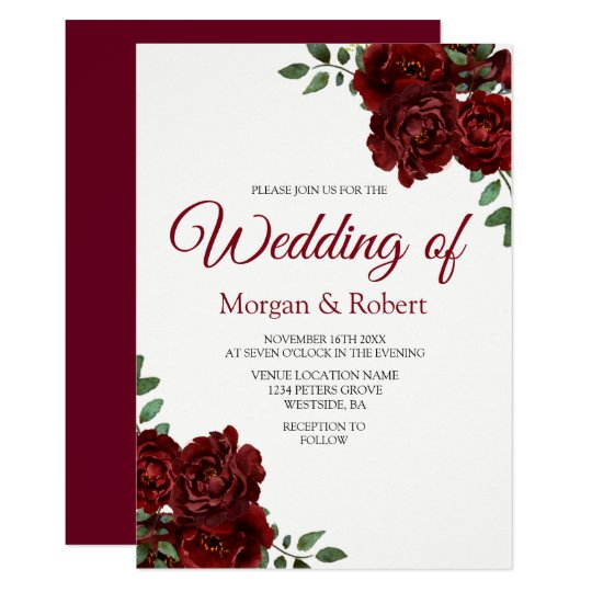 Wedding Invitations With Red Roses: Romantic Burgundy Red Rose Wedding Invitation