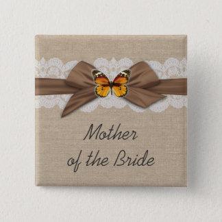 Romantic Burlap Ribbon Butterfly Button
