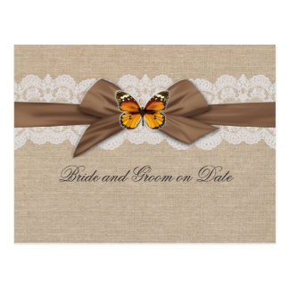 Romantic Burlap Ribbon Butterfly Save date card Postcard