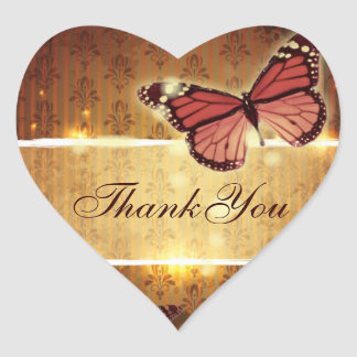 romantic butterfly fall wedding thank you heart sticker