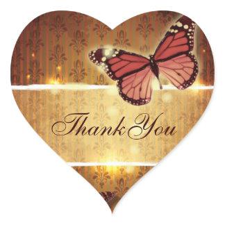 romantic butterfly fall wedding thank you heart sticker