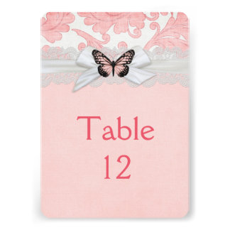 Romantic Butterfly Ribbon Damask Table card