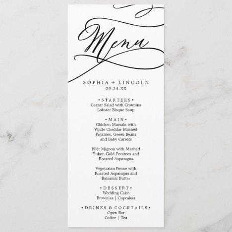 Romantic Calligraphy Flourish Wedding Dinner Menu