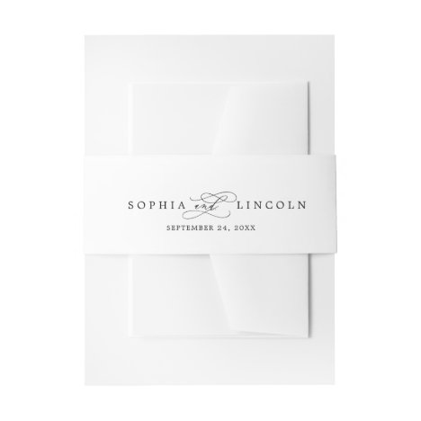 Romantic Calligraphy | Flourish Wedding Invitation Belly Band