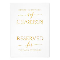 Romantic Calligraphy Reserved Sign Tent- Faux Foil Invitation