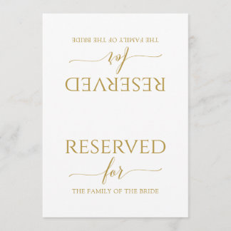 Romantic Calligraphy Reserved Sign Tent (Gold)