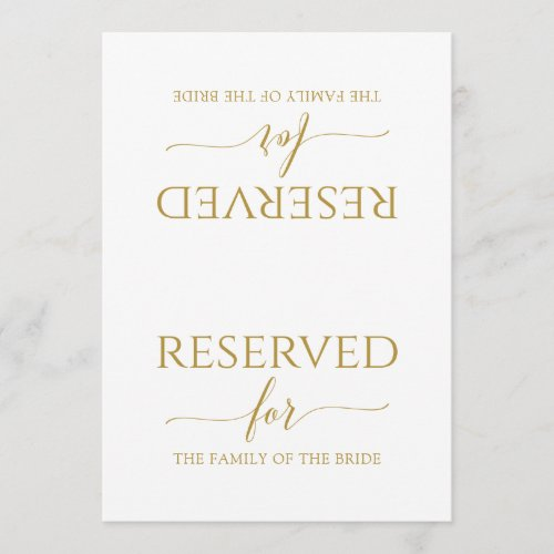 Romantic Calligraphy Reserved Sign Tent Gold