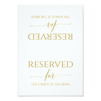 Romantic Calligraphy Reserved Sign Tent (Gold) Invitation