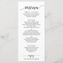 Romantic Calligraphy Wedding Menu | 4 x 9 | Black